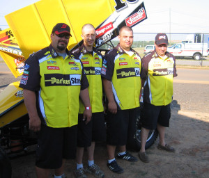 Schatz Racing crew members at Charlotte. May 25, 2007. (L-R) Brad Sparks, Dave Nisbet, Shane Bowers and Dave Lawrence.
